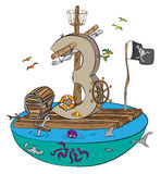 Liczba Trzy Jako pirat tratwa na Niebezpiecznej wodzie Obrazy Royalty Free