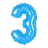 Liczba 3 trzy od balonów błękitnych Obrazy Royalty Free