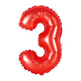 Liczba 3 trzy od balonów czerwonych Obraz Stock