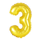Liczba 3 trzy od balonów złotych Zdjęcia Royalty Free