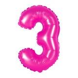 Liczba 3 trzy od balon menchii Obrazy Royalty Free
