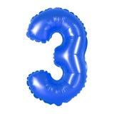 Liczba 3 trzy od balonu zmroku - błękit Zdjęcia Stock