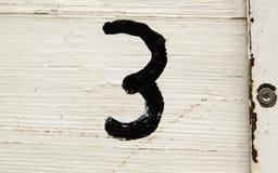 Liczba trzy w drewnie Obraz Royalty Free