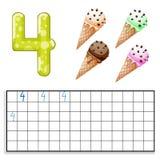 Liczba 4 z cztery lody ilustracja wektor