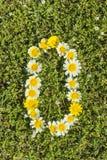 Liczba zero od kwiat liczb Fotografia Stock