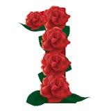 Liczby 1 śliczne róże ilustracyjne Obrazy Stock