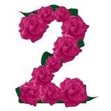 Liczby 2 śliczne różowe róże ilustracyjne Obrazy Stock