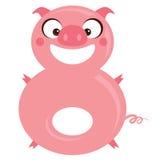 Liczby 8 śmiesznej kreskówki uśmiechnięta świnia Zdjęcie Stock