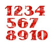 Liczby, Bożenarodzeniowa chrzcielnica, zima, czerwień, wektor Zdjęcia Royalty Free