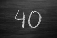 Liczby czterdzieści wyliczenie pisać z kredą zdjęcia stock
