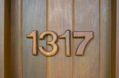 Liczby drzwi, izbowy drzwi, drewniany drzwi Zdjęcie Stock