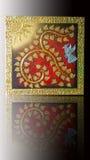 Liczby dziewięć bodhi drzewny tajlandzki styl z słońca, ptaka i złota srebra ramą, Fotografia Royalty Free