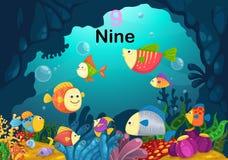 Liczby dziewięć ryba pod dennym wektorem royalty ilustracja