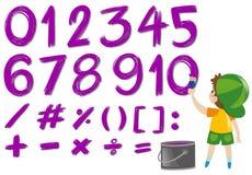 Liczby i matematyka podpisują wewnątrz purpura kolor Fotografia Stock