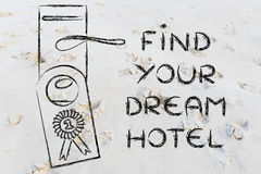 Liczby jeden best dylowy: znajduje perfect hotel Obrazy Stock