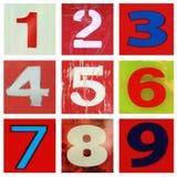 Liczby jeden ot dziewięć obraz stock