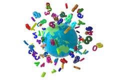 Liczby kuli ziemskiej colorfull royalty ilustracja