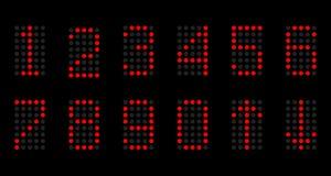 Liczby lampy na czarnym tle Obraz Royalty Free