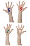 Liczby malować na dziecko rękach Wzrasta up ręki Zdjęcia Stock