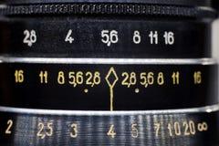 Liczby na obiektywie stara kamera Obrazy Royalty Free