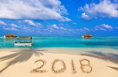 Liczby 2018 na plaży Fotografia Royalty Free