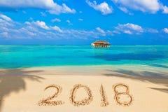 Liczby 2018 na plaży Zdjęcia Royalty Free