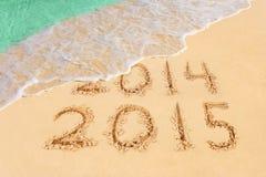 Liczby 2015 na plaży Obraz Royalty Free