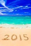 Liczby 2015 na plaży Fotografia Royalty Free