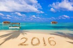 Liczby 2016 na plaży Zdjęcia Royalty Free