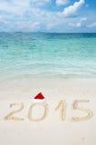 Liczby 2015 na tropikalnym plażowym piasku Fotografia Stock