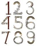 Liczby od 1, 2, 3, 4, 5, 6, 7, 8, 9, gromadzić od kruszcowych części Zdjęcia Royalty Free