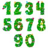 Liczby od jeden zero jak choinka z faborkami i girlandami ilustracja wektor