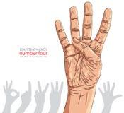 Liczby ręki znaki ustawiający, liczba cztery, szczegółowy wektorowy illustratio Obrazy Royalty Free