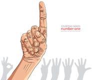 Liczby ręki znaki ustawiający, liczba jeden, szczegółowa wektorowa ilustracja Zdjęcia Royalty Free