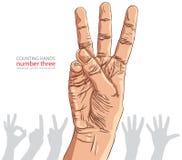 Liczby ręki znaki ustawiający, liczba trzy, szczegółowy wektorowy illustrati Zdjęcie Royalty Free