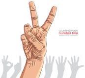 Liczby ręki znaki ustawiający, numer dwa, szczegółowa wektorowa ilustracja Obrazy Stock
