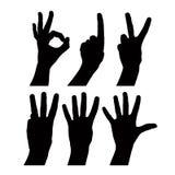 Liczby ręka podpisuje set, szczegółowy czarny i biały linia wektor si Obraz Stock