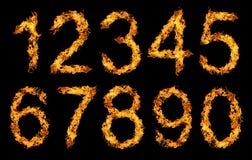 Liczby robić od pożarniczego płomienia Fotografia Stock