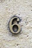 Liczby sześć metalu ulica Obrazy Stock