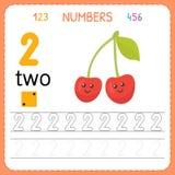 Liczby tropi worksheet dla preschool i dziecina Writing numer dwa Ćwiczenia dla dzieciaków Mathematics gry Zdjęcie Stock