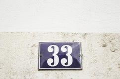 Liczby trzydzieści trzy dom Obraz Stock