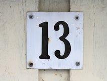 Liczby trzynaście znak Fotografia Stock
