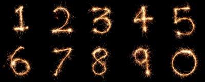 Liczby 1, 10 tworzyli używać sparkler Fotografia Royalty Free