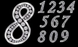 Liczby ustawiać, od 1, 9, srebro z diamentami royalty ilustracja
