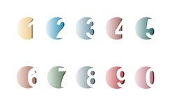 liczby ustawiają papieru cięcie ilustracja wektor