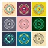 liczby ustawiają Kolorowe ramy w Liniowym stylu Mandalas inkasowi Zdjęcie Royalty Free