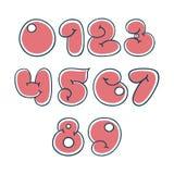Liczby w ładnym kreskówka stylu Fotografia Stock
