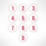 Liczby w okręgach ustawiają w nowożytnym płaskim projekcie Zdjęcie Stock