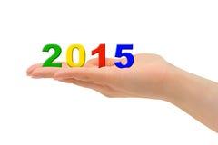 Liczby 2015 w ręce Fotografia Royalty Free