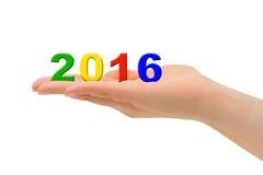 Liczby 2016 w ręce Zdjęcia Stock